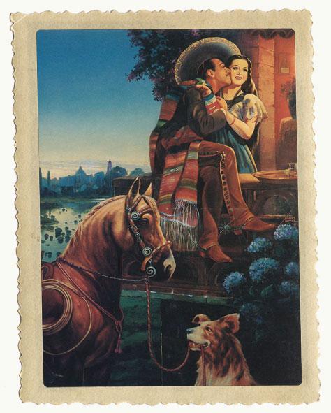 Mexikanska filtar illustrerade i form av ett ungt, mexikanskt kärlekspar.